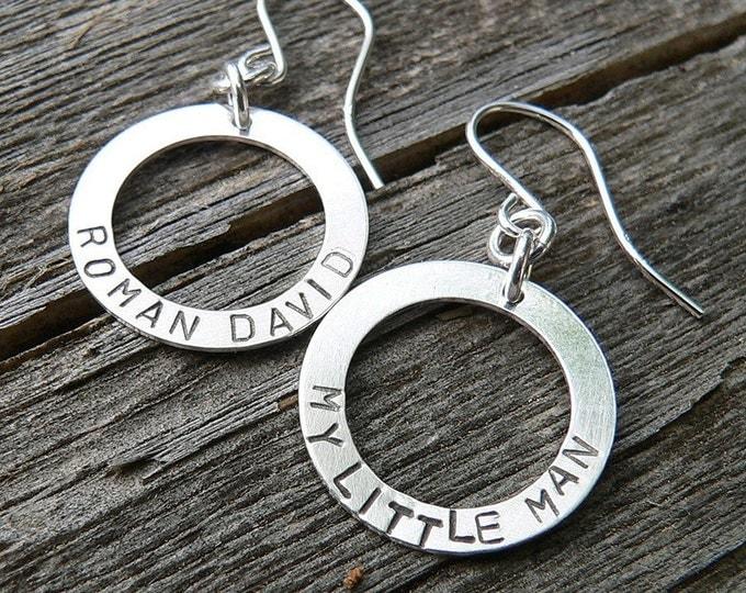 Birth Designs -Circle of Love Earrings - Custom Phrase Name or Words