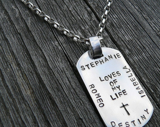Custom Thick Sterling Men's Dog Tag Necklace - Choice of 10 Fonts, Over 100 Symbols