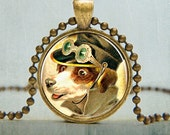 Steampunk Dog Art Pendant, Steampunk Pendant, Steampunk Jewelry (735)