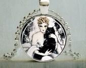 Black Cat Necklace, Black Cat Pendant, Art Pendant, Cat Lover (871)