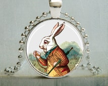 White Rabbit Art Pendant, Rabbit Pendant, Alice in Wonderland, Storybook Pendant (848)