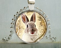 White Rabbit Art Pendant Picture Pendant (888-Silver)