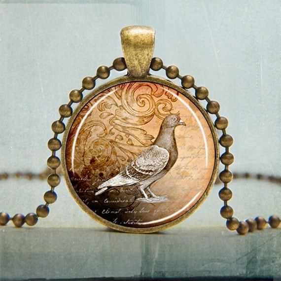 Bird Necklace Pigeon with Text Background Art Pendant Bird Nature Victorian Jewelry - No. 1015