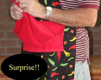 Penis--HOT PEPPERS BBQ Apron w/ X-Rated Penis  Under Attached Towel-towel will be black, mature content