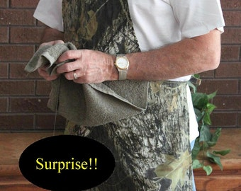 Realtree Camo Apron W Penis Hidden Under Attached Towel