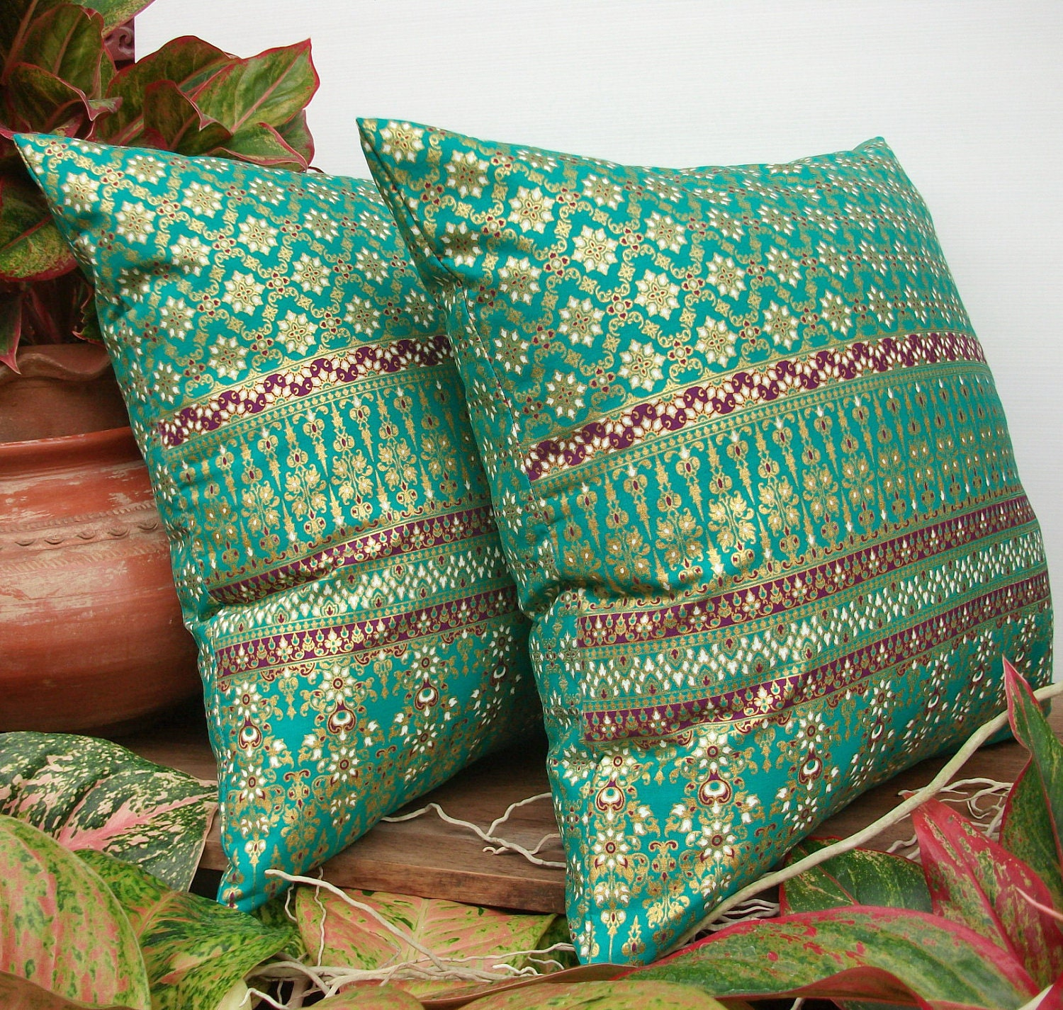 Green Teal Gold Pillow Cover Thai Painting Sofa Throw