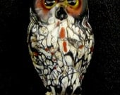 Mahusay Lampwork Owl Pendant - Great Horned