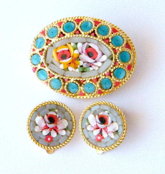 Antique Italian Micro Mosaic Gold Tone Floral Demi Parure Brooch and Earrings , circa 1930s Victorian Revival, Excellent Condition