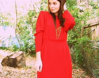 SALE Red Avant Garde Puff Sleeve Dress with Art Deco Waist Detail