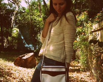 Two Tone Brown and White Cross Body Bag