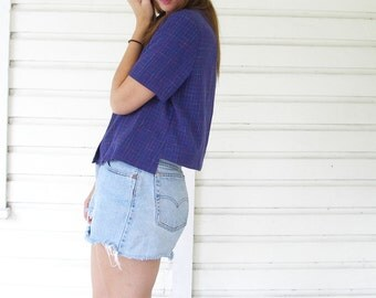 Purple Checkered Open Back Button Up Cutout Blouse