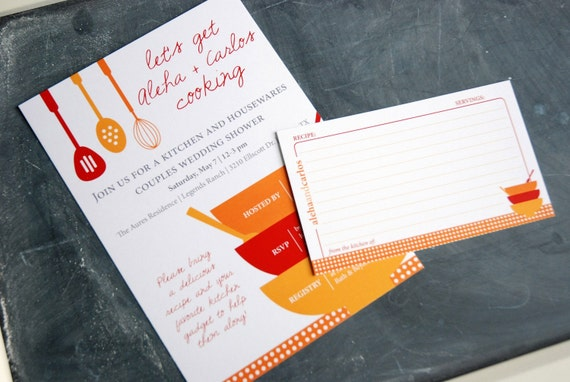 RESERVED LISTING for Kimberly Brigden - Kitchen themed Bridal Shower invitation PLUS matching recipe card