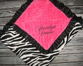 Zebra and Hot Pink Minky Baby Blanket 30x36 - Personalized