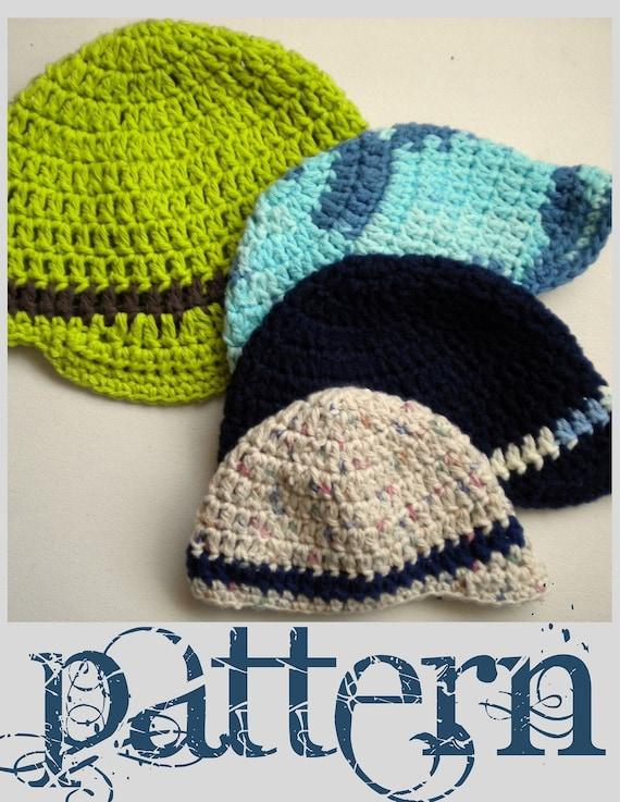 Crochet Baby Hat Pattern With Brim : PATTERN Brimmed Baby Boy Hat PDF Crochet Pattern