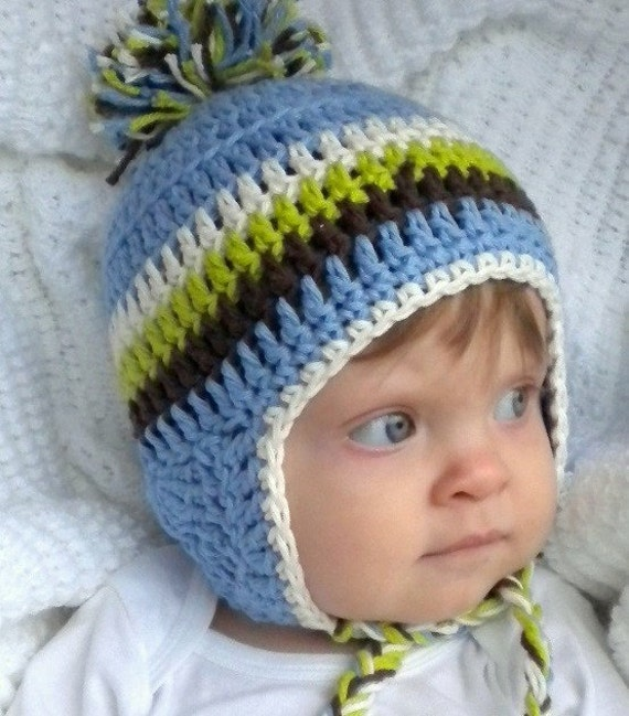 Newborn Hat With Ears Crochet Pattern : Crochet Baby Ear Flap Hat with Tassels Baby Boy Blue