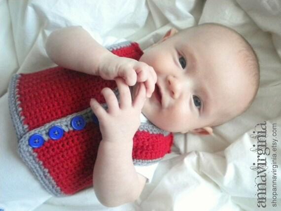 Crochet Baby Boy Vest - Americana Newborn