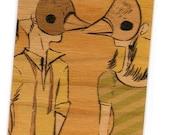 Shy Boy Shy Girl No2 - Ltd edition wood ACEO