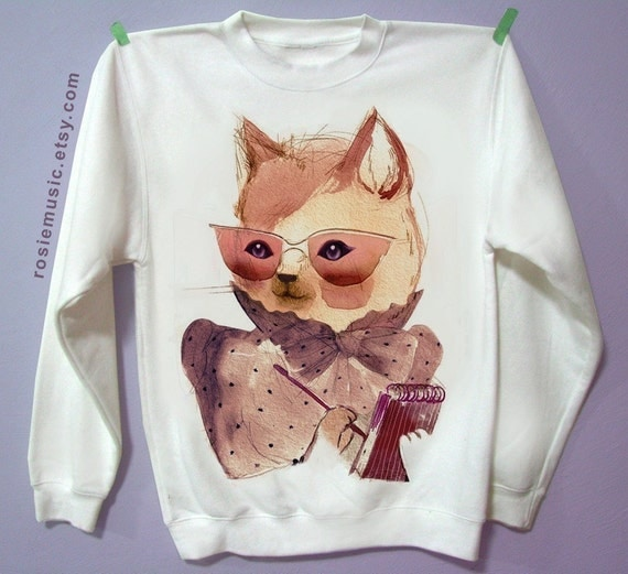 Secretary Cat - White Sweatshirt No Transfer