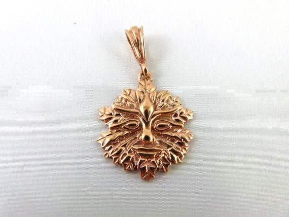 Antique Bronze Green Man Pendant