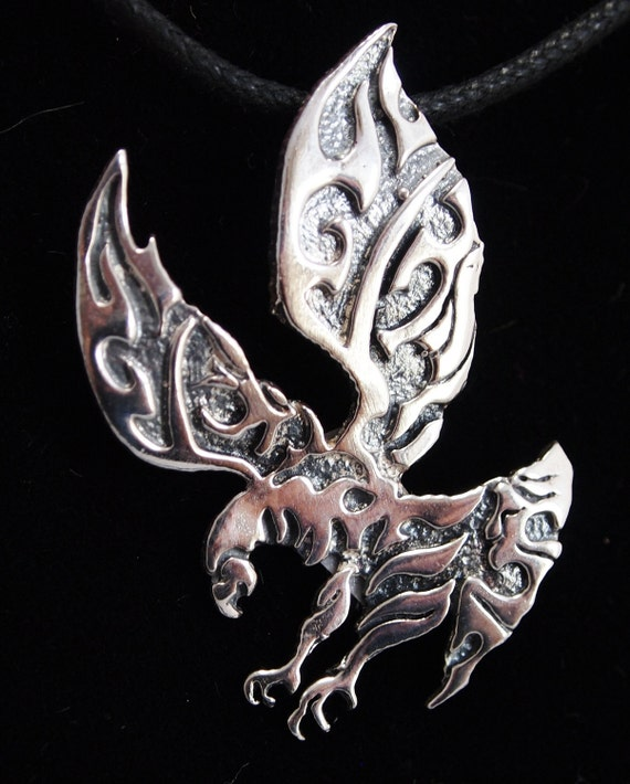 Tribal Style Eagle Pendant in Sterling Silver