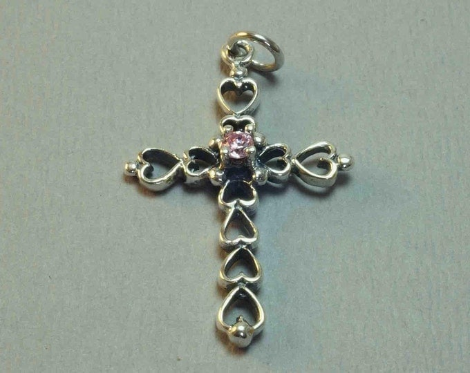 Sterling Silver Heart Cross Pendant with Stone
