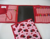 Lady Bug Art Tote complete with chalkboard, chalk, eraser, paper pad, pencil, crayons, and colored pencils