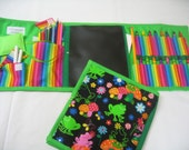Frogs and Flowers Art Tote in a bright print complete with chalk, eraser, chalkboard, colored pencils, pencil, crayons, and paper