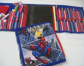 Spiderman  Art Tote complete with chalkboard, chalk, eraser, paper pad, pencil, crayons, and colored pencils