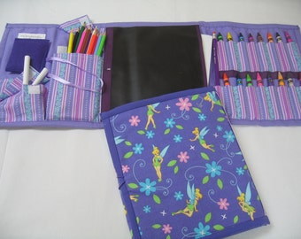 Tinker Bell Art Tote complete with chalkboard, chalk, eraser, paper pad, pencil, crayons, and colored pencils