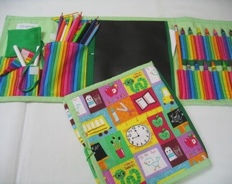 School Time Art Tote complete with chalkboard, chalk, eraser, paper pad, pencil, crayons, and colored pencils