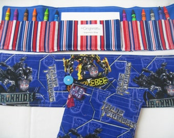 50% OFF Transformers Crayon Tote in a colorful print complete with 12 crayons and a paper pad