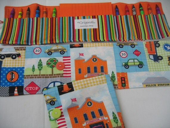 Town Crayon Tote in a colorful print complete with 12 crayons and a paper pad