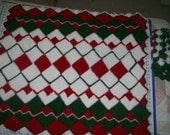 """White, Red and Green  Lap Afghan 39""""x 43"""""""
