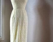 1970's Yellow Lace Maxi Dress