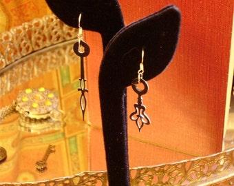 Mari Mated Clock Hand Earrings- FREE SHIPPING in the USA