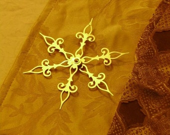 GOLD Snow Flower- Steampunk Clock Hand Holiday Ornament