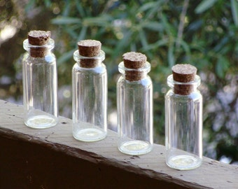 Set of 4 Large Glass Vials With Corks- AS IS