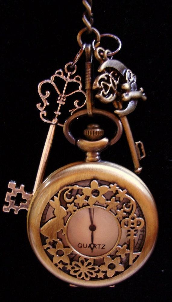 White Rabbit Wonderland Embellished Steampunk Pocket Watch