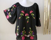 70s Black Boho Embroidered Top Vintage Angel Sleeve Mexican Hippie Blouse Size Large to X Large