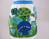 Vintage 70s Mushroom Apron Blue and Green Terry Cloth Kitchen Apron