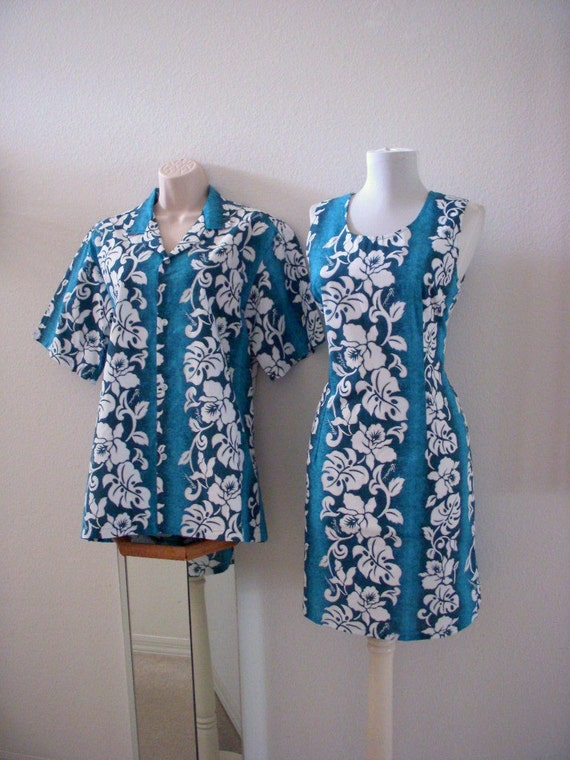 Vintage 60s 70s His and Hers Blue Hawaiian  Dress and Shirt Both Size Medium