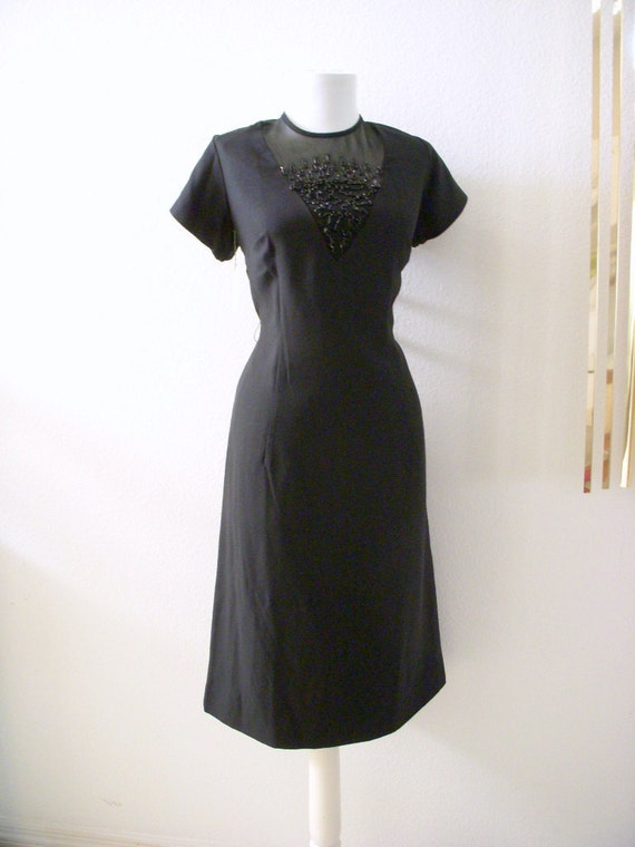 RESERVED Vintage 50s 60s Black Sheath Illusion Dress New Old Stock Beaded Black Wiggle Dress with Metal Zipper Size Large estimated