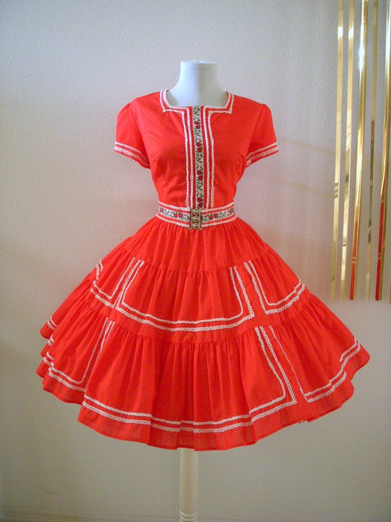 Vintage Red Rockabilly Swing Dress Circle Skirt Red Dress Size Large estimated
