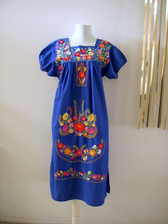 70s Blue Boho Mexican Dress Vintage Embroidered Blue Dress Size Small estimated
