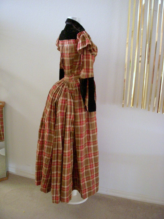 Vintage 1800s Victorian Bustle Dress Plaid Antique Steampunk