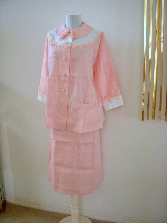 50s Pink Maternity Suit Vintage Rockabilly Maternity Lucy Dress New Old Stock Never Worn Jacket and Skirt