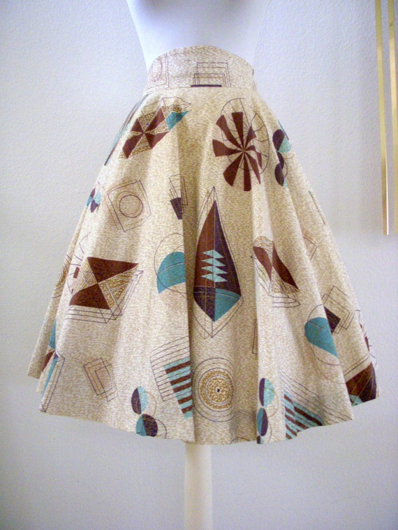 Stunning 50s Atomic Circle Skirt Vintage 1950s Abstract Novelty Print Rockabilly Full Skirt Size Small to Medium
