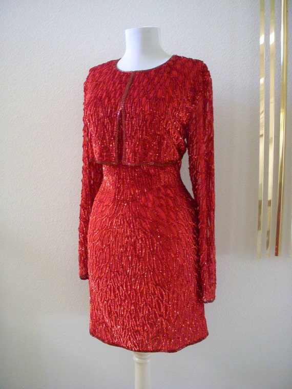 Vintage 80s Red Sequin Wiggle Dress Avant Garde Lipstick Red Party Sheath Dress Size Medium to Large