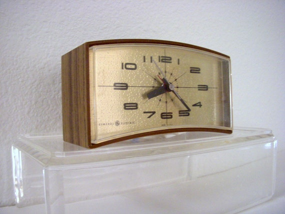 Mid Century Atomic Space Age Clock Vintage Danish Modern Bedside Electric Alarm Clock 50s 60s