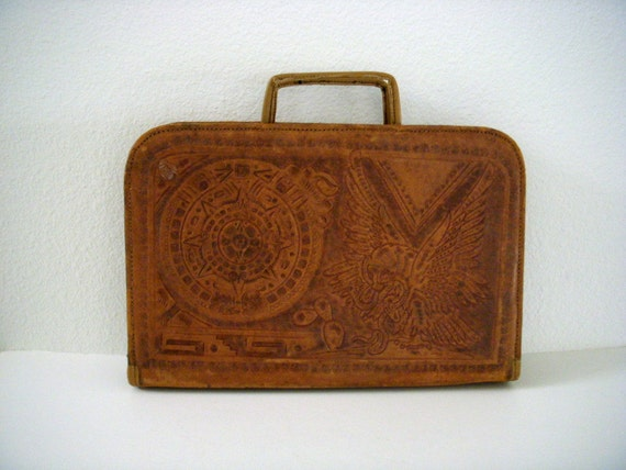 Vintage 40s 50s Tooled Mexican Leather Briefcase Vintage Brown Leather Valise by PYMSA